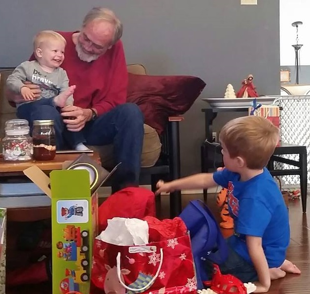 Christmas 2015, playing with Benjamin (right) and Beckett